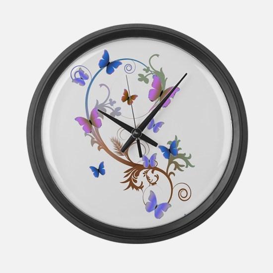 Blue & Purple Butterflies Large Wall Clock