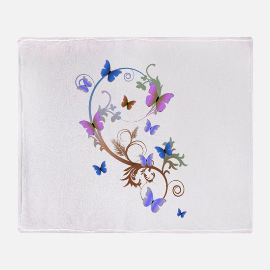 Blue & Purple Butterflies Throw Blanket