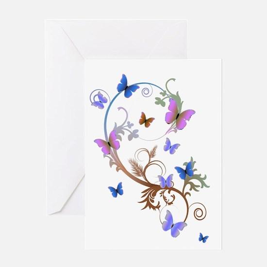 Blue & Purple Butterflies Greeting Card