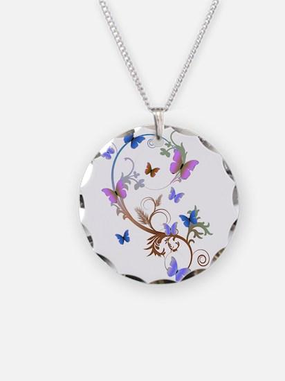 Blue & Purple Butterflies Necklace