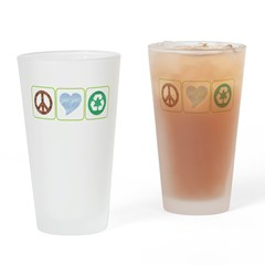 Peace, Love, Recycling Drinking Glass