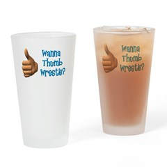 Thumb Wrestle Drinking Glass