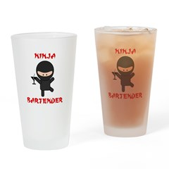 Ninja Bartender with Martini Drinking Glass