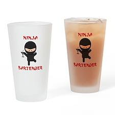 Ninja Bartender with Martini Drinking Glass