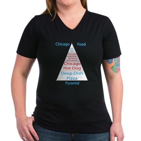 Chicago Food Pyramid Women's V-Neck Dark T-Shirt