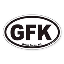 Grand Forks North Dakota GFK Euro Oval Decal