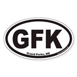 Grand Forks North Dakota GFK Euro Oval Sticker