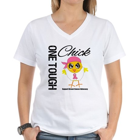 Breast Cancer One Tough Chick Women's V-Neck T-Shi