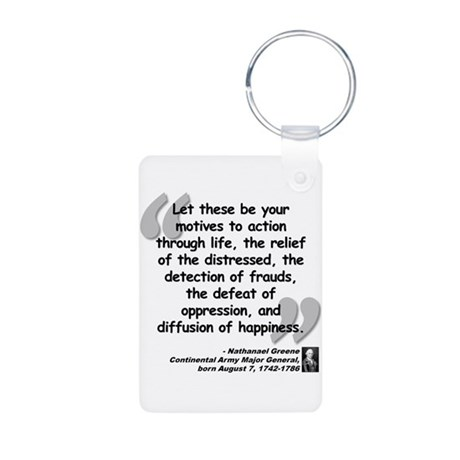 Greene Action Quote Aluminum Photo Keychain