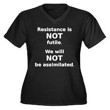 Cute Resistance futile Women's Plus Size V-Neck Dark T-Shirt
