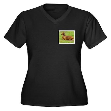 Dachshund 9R086D-033 Women's Plus Size V-Neck Dark