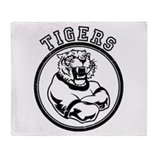 Tigers Team Mascot Graphic Throw Blanket