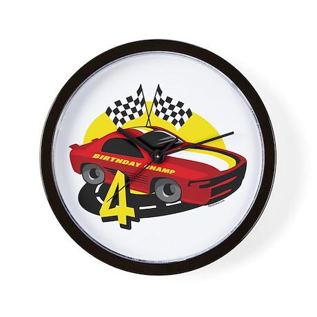 Race Car 4th Birthday Wall Clock