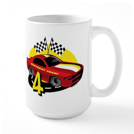 Race Car 4th Birthday Large Mug