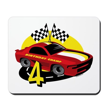 Race Car 4th Birthday Mousepad