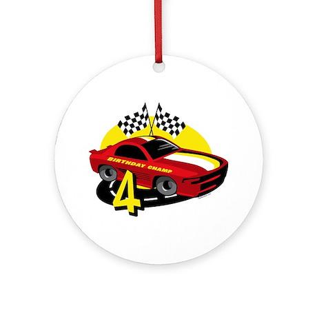 Race Car 4th Birthday Ornament (Round)