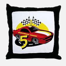 Race Car 5th Birthday Throw Pillow
