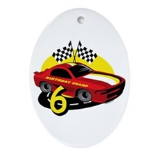 Race Car 6th Birthday Ornament (Oval)