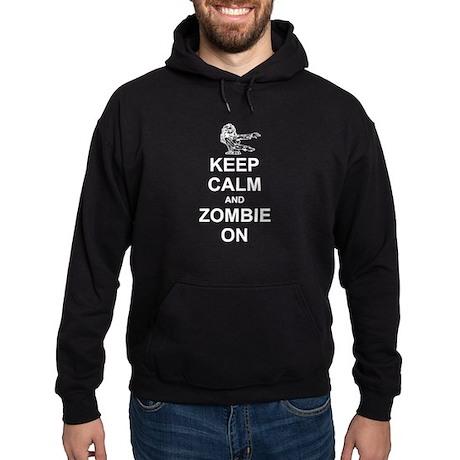 Keep Calm and Zombie On Hoodie (dark)