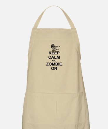 Keep Calm and Zombie On Apron
