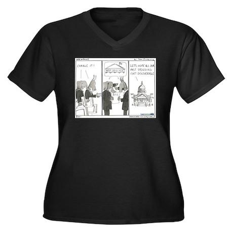 Debt Ceiling Women's Plus Size V-Neck Dark T-Shirt