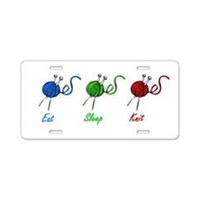 Eat sleep knit Aluminum License Plate