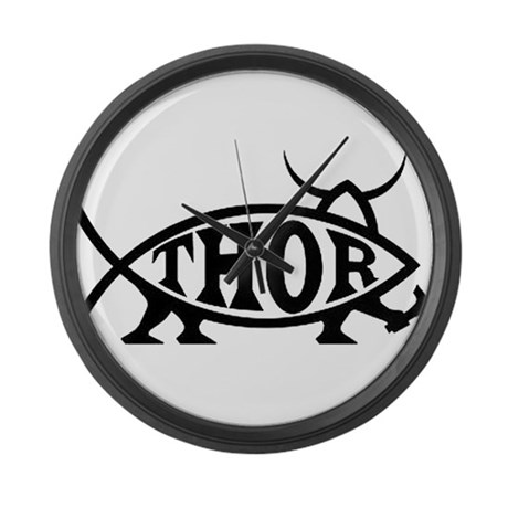 Thor Fish with Hammer Large Wall Clock
