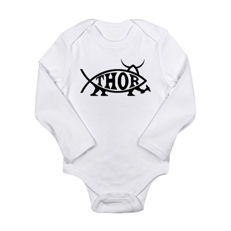 Thor Fish with Hammer Long Sleeve Infant Bodysuit