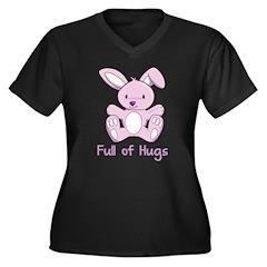 Full of Hugs Bunny Women's Plus Size V-Neck Dark T