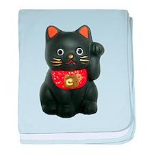 Black Lucky Cat baby blanket