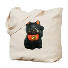 Black Lucky Cat Tote Bag