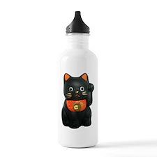 Black Lucky Cat Water Bottle