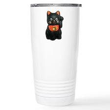 Black Lucky Cat Travel Mug