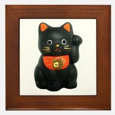 Black Lucky Cat Framed Tile