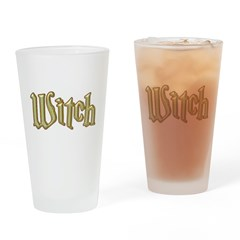 Brushed Gold Witch Wiccan Drinking Glass