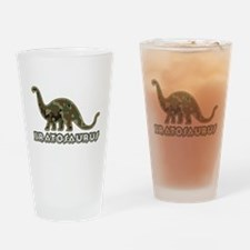 Brat Kid Camo Dinosaur Drinking Glass
