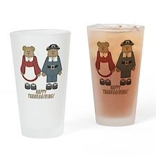 Thanksgiving Teddy Bears Drinking Glass