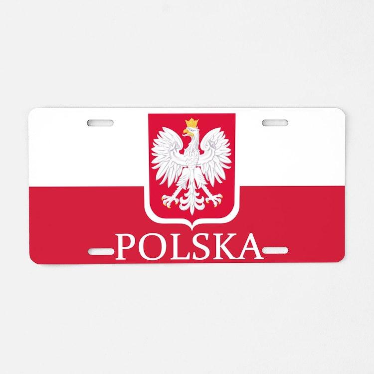 Polish Flag Aluminum License Plate