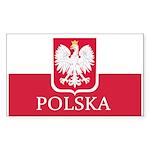 Polish Flag Sticker (Rectangle 50 pk)