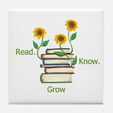 Sunflowers and Books Tile Coaster