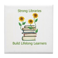 Sunflowers & Books 4 Libraries Tile Coaster