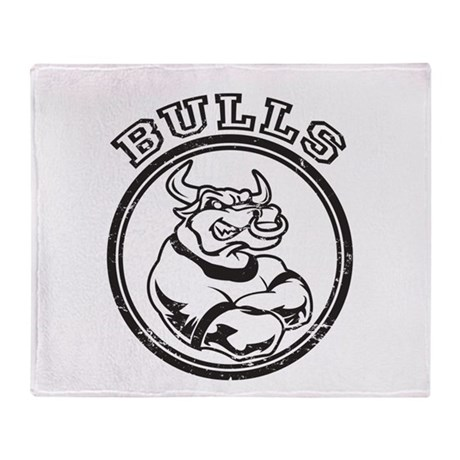 Bulls Team Mascot Graphic Throw Blanket
