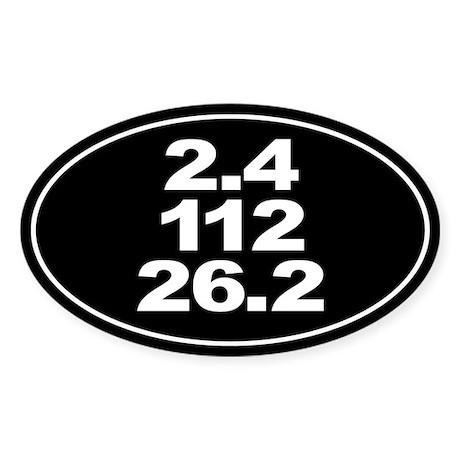 Ironman Triathlon Distances Sticker (Oval)