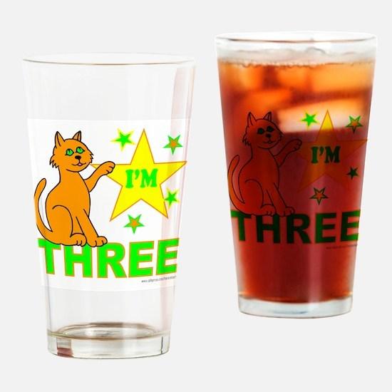 I'M THREE Drinking Glass