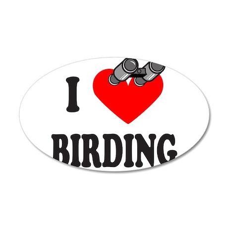 I HEART BIRDING 22x14 Oval Wall Peel