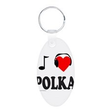 POLKA MUSIC Aluminum Oval Keychain