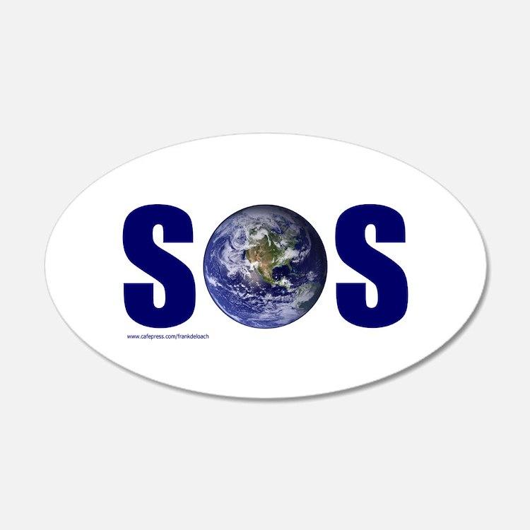 SOS EARTH 22x14 Oval Wall Peel