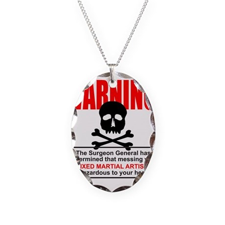 WARNING MMA Necklace Oval Charm