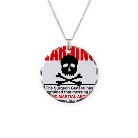 WARNING MMA Necklace Circle Charm