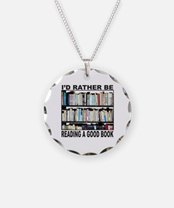 BOOK LOVER Necklace Circle Charm